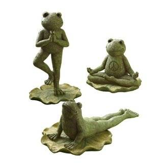 Lane Smiling Yoga Frogs on Lilypads, Three Position Styles, Set of 3
