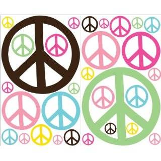 Peace Sign Wall Stickers Decals in Pink with White