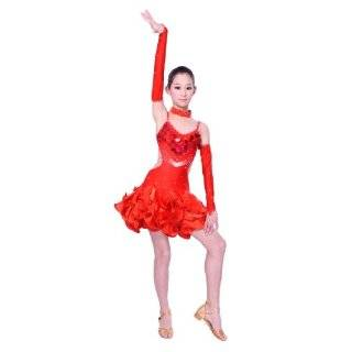 Child Girls / Ladies Latin dance dress Over all dress in 3 sets Red