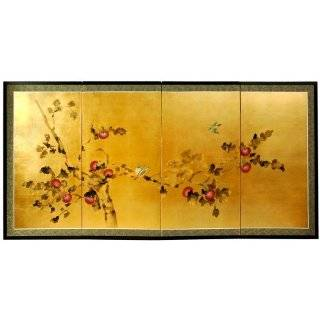 Wall Art   6ft. Wide Oriental Cherry Blossom Gold Leaf Screen Painting