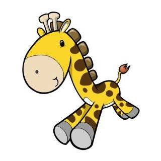 Childrens Wall Decals   Cartoon Yellow, Brown Baby Giraffe   12 inch