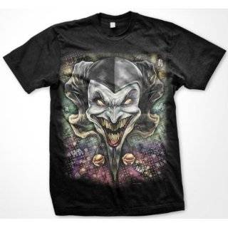 Wicked Jester T Shirt, Evil Clown Liquid Blue Oversized Designs (Many