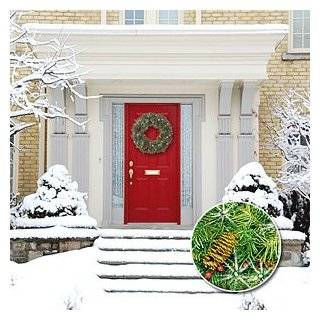 Holiday LED Cordless Christmas Wreath with White Lights Pine Cones