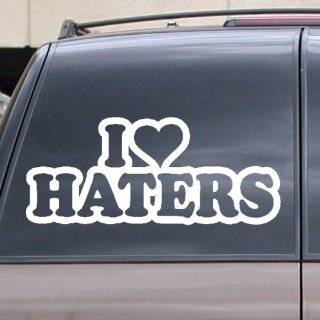 I Love Haters w/ Red Heart Car Decal / Sticker: Automotive