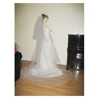 Swarovski Crystal Rhinestones Bridal Wedding Veil Satin Edge Beauty