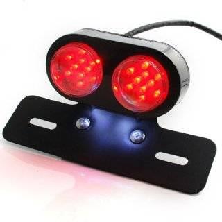 12V White Red LED Motorcycle Oval Cat Eye Rear Tail Brake
