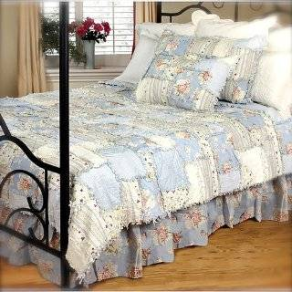 Full Queen Quilt Set Shabby Chic Old English Rose Scroll