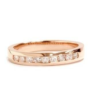 Gold Ring .25CT Round Geniune Natural Diamond Wedding Band 14KT Pink