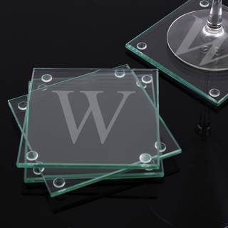 Custom Engraved Glass Coasters (Set of 4)