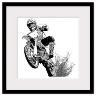 Black/white dirt bike wheeling in mud Framed Print
