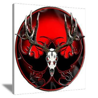 Mule deer,skull flames Canvas Art