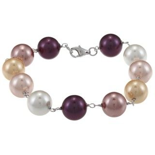 La Preciosa Sterling Silver Multi colored 10 mm Shell Pearl Bracelet