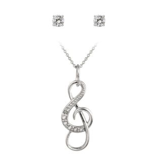 Icz Stonez Sterling Silver Cubic Zirconia Musical Note Jewelry Set (7