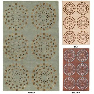 Hand tufted Contemporary Beige Circles Beauty New Zealand Wool