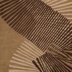 Hand tufted Contemporary Brown Striped Akita New Zealand Wool Abstract