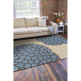 Hand tufted Contemporary /Blue Carpi New Zealand Wool Abstract Rug ( 9