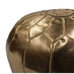 Handmade Casusal Living Gold Leather Moroccan Ottoman Pouf