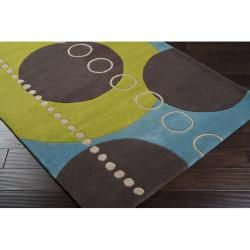 Hand tufted Contemporary Multi Colored Geometric Circles Mayflower