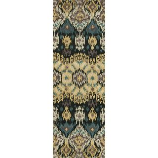 Hand tufted Arianna Black/ Lt. Gold Wool Rug (26 x 76)