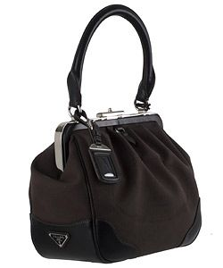 Prada Dark Brown Logo Jacquard Handbag