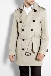 Burberry Brit  Taupe Check Lined Cotton Trench Coat by Burberry Brit