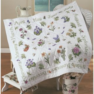 Bucilla Stamped Cross Stitch Lap Quilt Kit   Year of Flowers