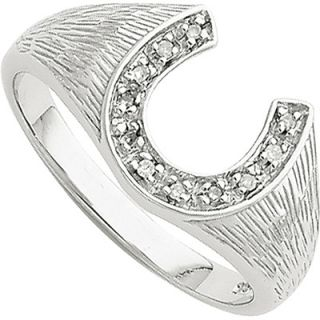 Mens Diamond Horseshoe Ring in Sterling Silver and Rhodium