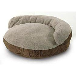 Round 42 inch Light Brown Microsuede Pet Bed