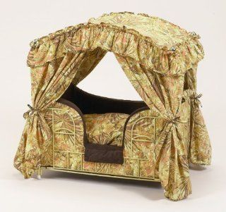 Lazy Paws Designer Canopy Pet Bed   Brown & Gold Floral