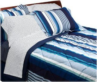 com   Dan River Blue Racing Stripe 250 Thread Count Twin Bed in a Bag