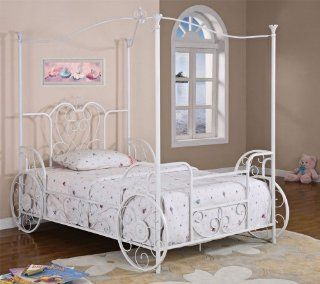with Pink Sand Through Carriage Canopy Full Bed Includes Bed Frame