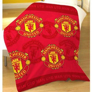 Manchester United Man Utd Multi Crest Bedroom Fleece Blanket Throw
