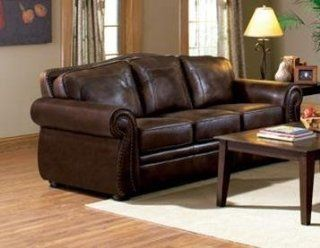 Dean Traditional Leather Look Camel Back Sofa by Coaster