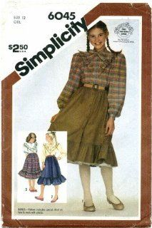 Simplicity 6045 Sewing Pattern Girls Blouse Skirt Petticoat Size 12