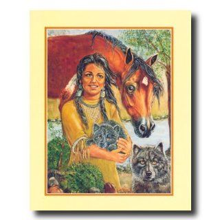 Native American Indian Girl With Wolf And Horse Animal