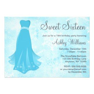 Snowflake Dress Sweet 16 Winter Wonderland Invites