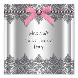 Pink Gray Sweet 16 Birthday Party Invitations