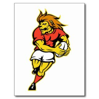 Lion playing rugby running with ball cartoon post cards