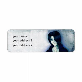 Cute anime emo boy return address labels