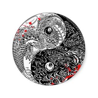 Cool blood splatter Yin Yang Dragons tattoo art Round Stickers