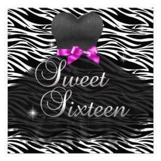 Sweet Sixteen Sweet 16 Pink Black Zebra Dress Invite