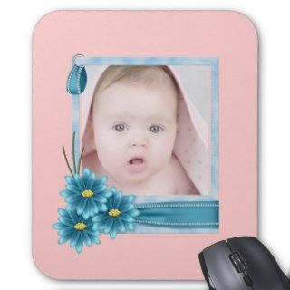 pink Daisy Baby Girl Personalized Photogift Mouse Pads