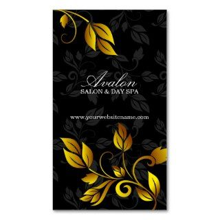 Elegant Gold Leaf & Damask Business Cards