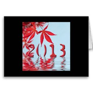 2013 red japanese maple leaves greeting cards