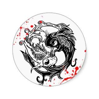 Cool blood splatter Yin Yang Koi Fishes tattoo art Stickers
