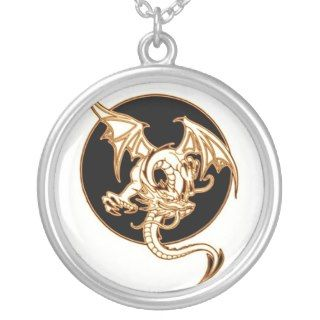 VINTAGE FLYING DRAGON TATTOO ART PRINT NECKLACE