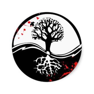 Cool blood splatter Yin Yang Tree tattoo art Round Sticker