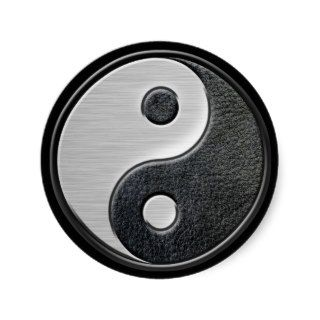 Leather and Steel Effect Yin Yang Graphic Stickers