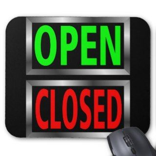Open Closed Signs Vector Clipart Mousepad