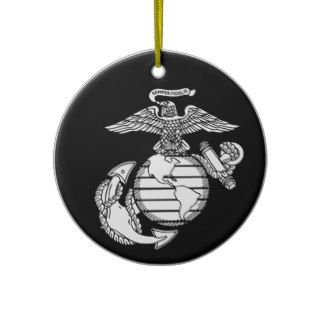 USMC Eagle, Globe and Anchor with Black Background Christmas Tree